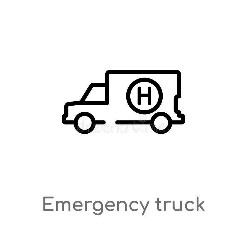 διανυσματικό εικονίδιο φορτηγών έκτακτης ανάγκης περιλήψεων απομονωμένη μαύρη απλή απεικόνιση στοιχείων γραμμών από την τελική έν διανυσματική απεικόνιση