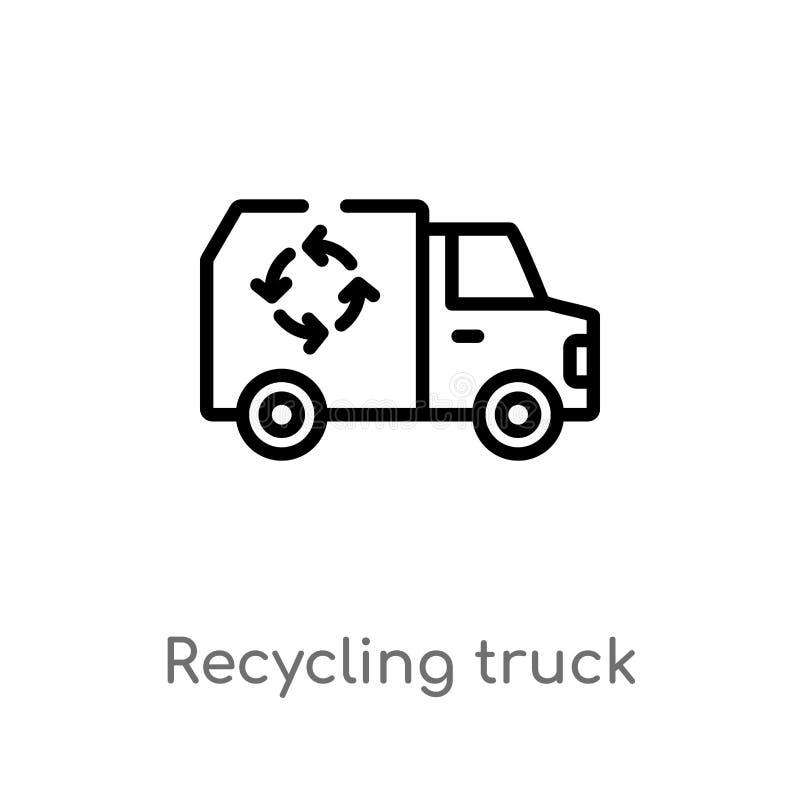 διανυσματικό εικονίδιο φορτηγών ανακύκλωσης περιλήψεων απομονωμένη μαύρη απλή απεικόνιση στοιχείων γραμμών από την έννοια μεταφορ διανυσματική απεικόνιση