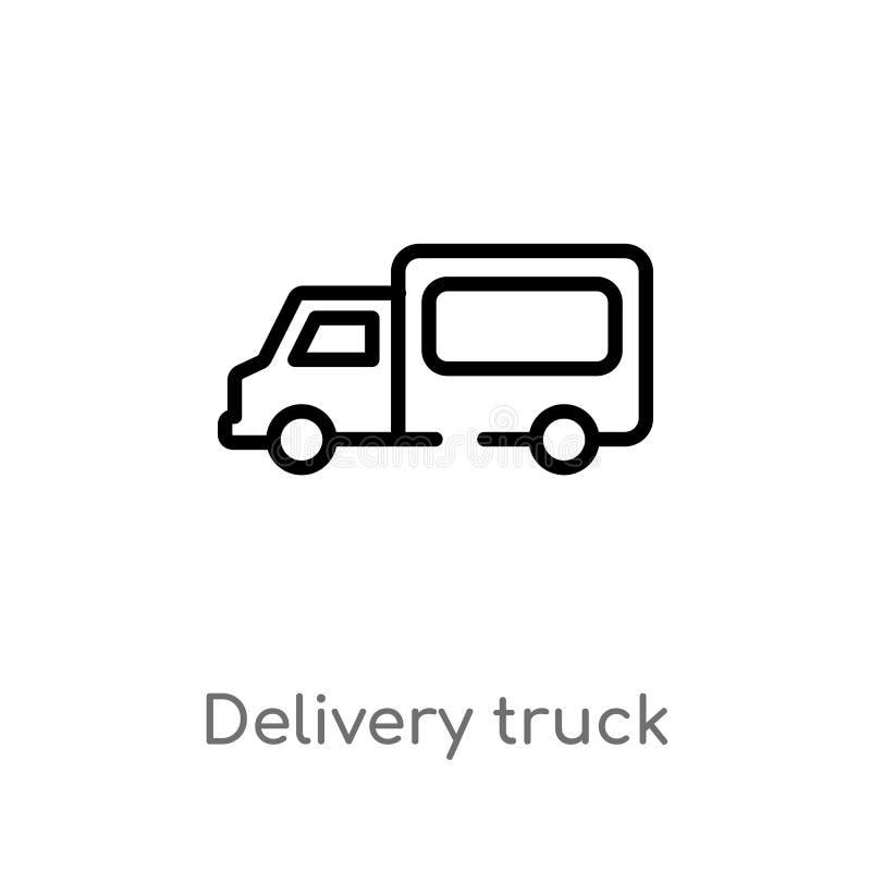 διανυσματικό εικονίδιο φορτηγών παράδοσης περιλήψεων απομονωμένη μαύρη απλή απεικόνιση στοιχείων γραμμών από την παράδοση και τη  ελεύθερη απεικόνιση δικαιώματος