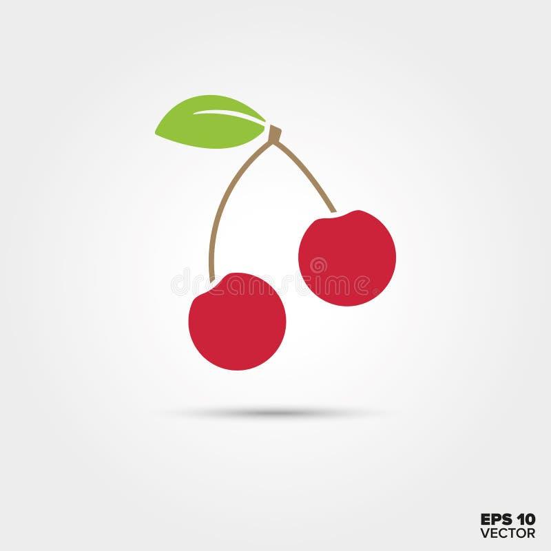 Διανυσματικό εικονίδιο φρούτων κερασιών απεικόνιση αποθεμάτων