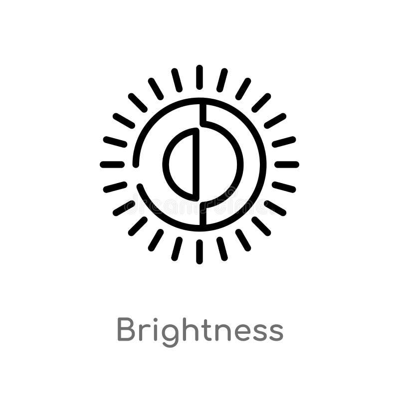 διανυσματικό εικονίδιο φωτεινότητας περιλήψεων απομονωμένη μαύρη απλή απεικόνιση στοιχείων γραμμών από την έννοια ενδιάμεσων με τ ελεύθερη απεικόνιση δικαιώματος