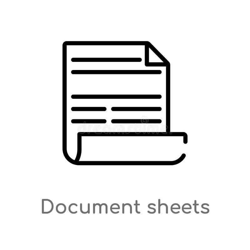 διανυσματικό εικονίδιο φύλλων εγγράφων περιλήψεων απομονωμένη μαύρη απλή απεικόνιση στοιχείων γραμμών από την έννοια σημαδιών r απεικόνιση αποθεμάτων