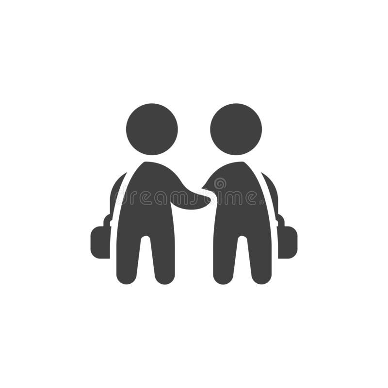 Διανυσματικό εικονίδιο χειραψιών δύο επιχειρηματιών απεικόνιση αποθεμάτων