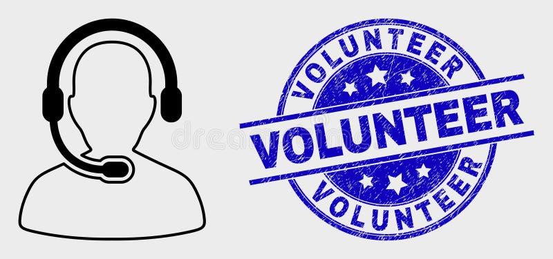 Διανυσματικό εικονίδιο χειριστών τηλεφωνικών κέντρων περιλήψεων και εθελοντική σφραγίδα Grunge διανυσματική απεικόνιση