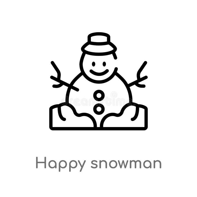διανυσματικό εικονίδιο χιονανθρώπων περιλήψεων ευτυχές απομονωμένη μαύρη απλή απεικόνιση στοιχείων γραμμών από την έννοια Χριστου απεικόνιση αποθεμάτων