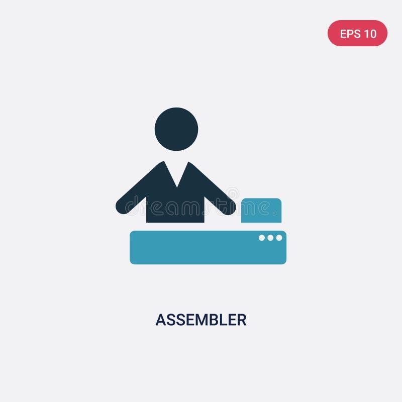 Διανυσματικό εικονίδιο assembler δύο χρώματος από την έννοια ανθρώπων το απομονωμένο μπλε σύμβολο σημαδιών assembler διανυσματικό απεικόνιση αποθεμάτων