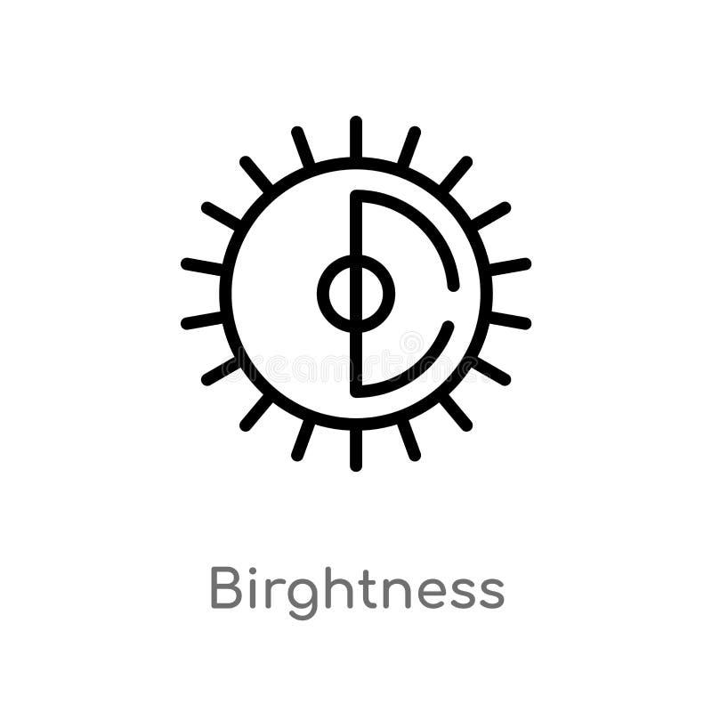 διανυσματικό εικονίδιο birghtness περιλήψεων απομονωμένη μαύρη απλή απεικόνιση στοιχείων γραμμών από την έννοια ενδιάμεσων με τον διανυσματική απεικόνιση