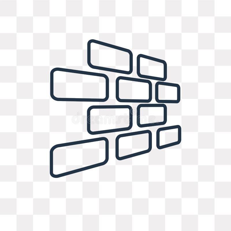 Διανυσματικό εικονίδιο Brickwall στο διαφανές υπόβαθρο, γραμμικό απεικόνιση αποθεμάτων