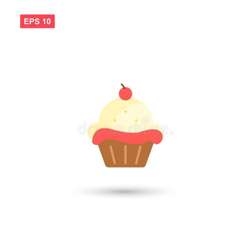 Διανυσματικό εικονίδιο cupcake αποθεμάτων με το κεράσι στην κορυφή απεικόνιση αποθεμάτων