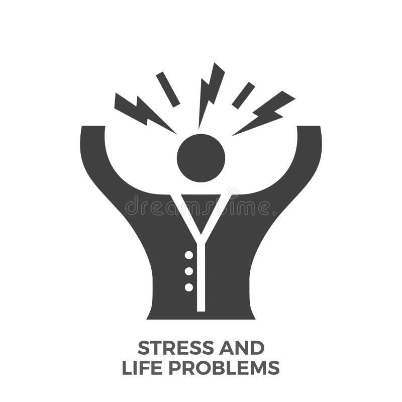 Διανυσματικό εικονίδιο Glyph προβλημάτων πίεσης και ζωής διανυσματική απεικόνιση