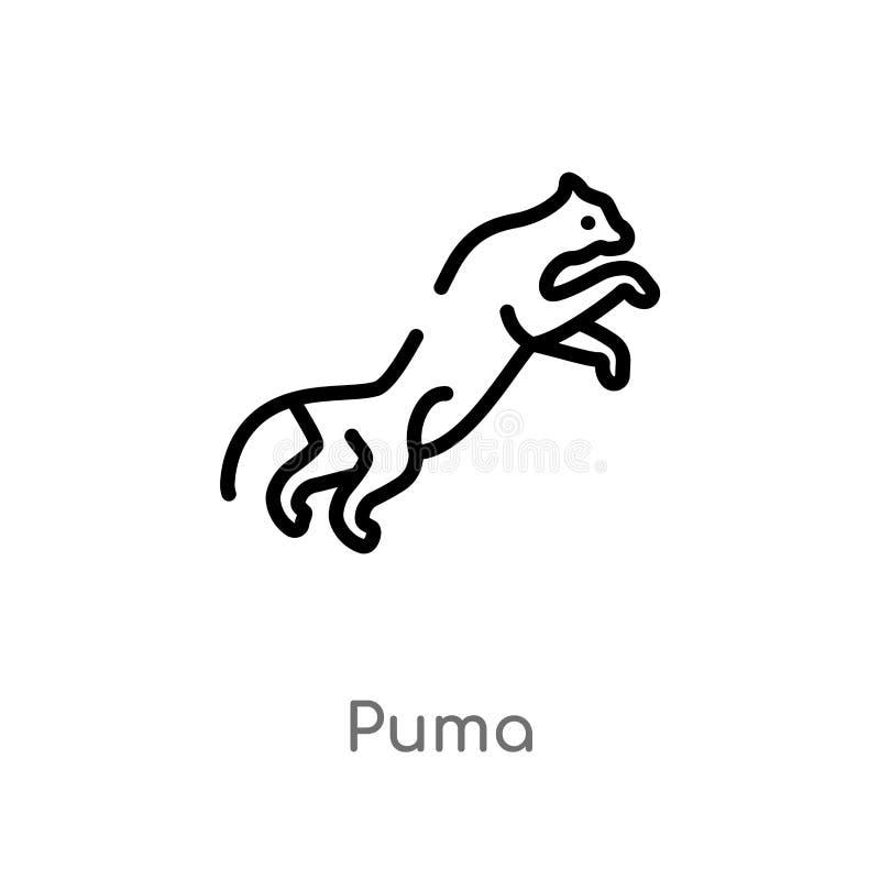 διανυσματικό εικονίδιο puma περιλήψεων απομονωμένη μαύρη απλή απεικόνιση στοιχείων γραμμών από την έννοια ζώων editable διανυσματ απεικόνιση αποθεμάτων