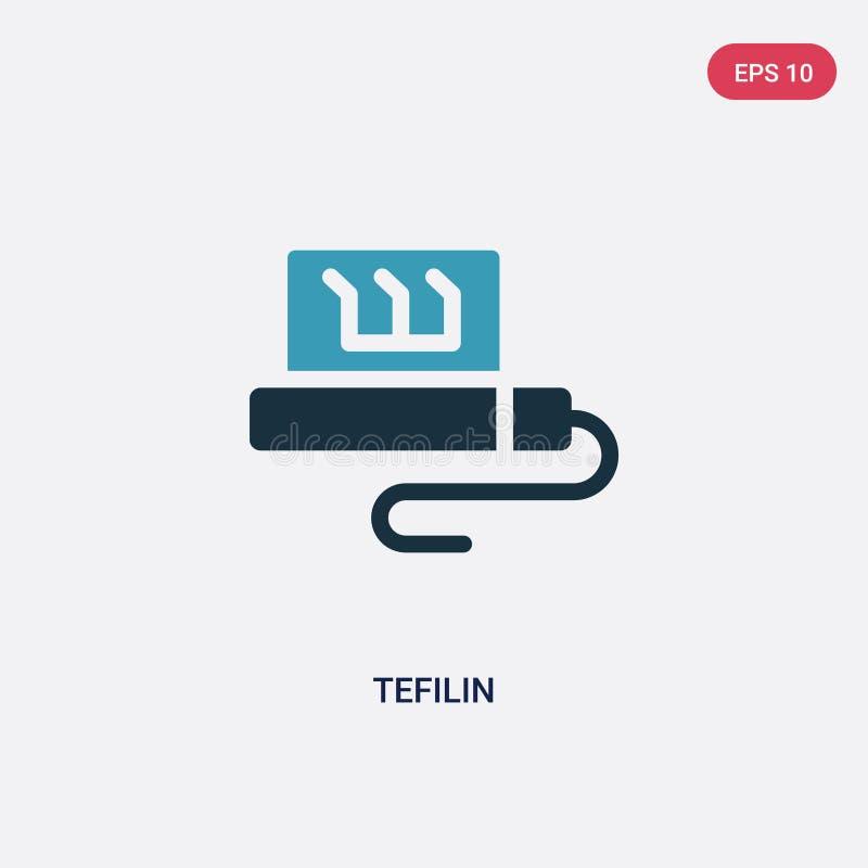Διανυσματικό εικονίδιο tefilin δύο χρώματος από την έννοια θρησκείας το απομονωμένο μπλε σύμβολο σημαδιών tefilin διανυσματικό μπ διανυσματική απεικόνιση