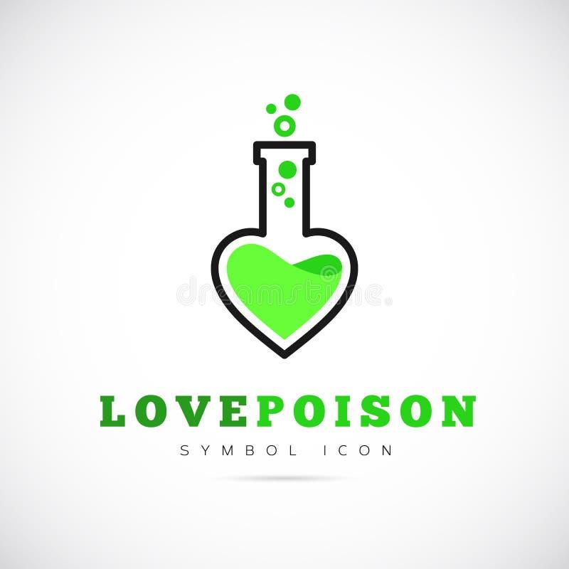 Διανυσματικό εικονίδιο ή λογότυπο συμβόλων έννοιας δηλητήριων αγάπης απεικόνιση αποθεμάτων