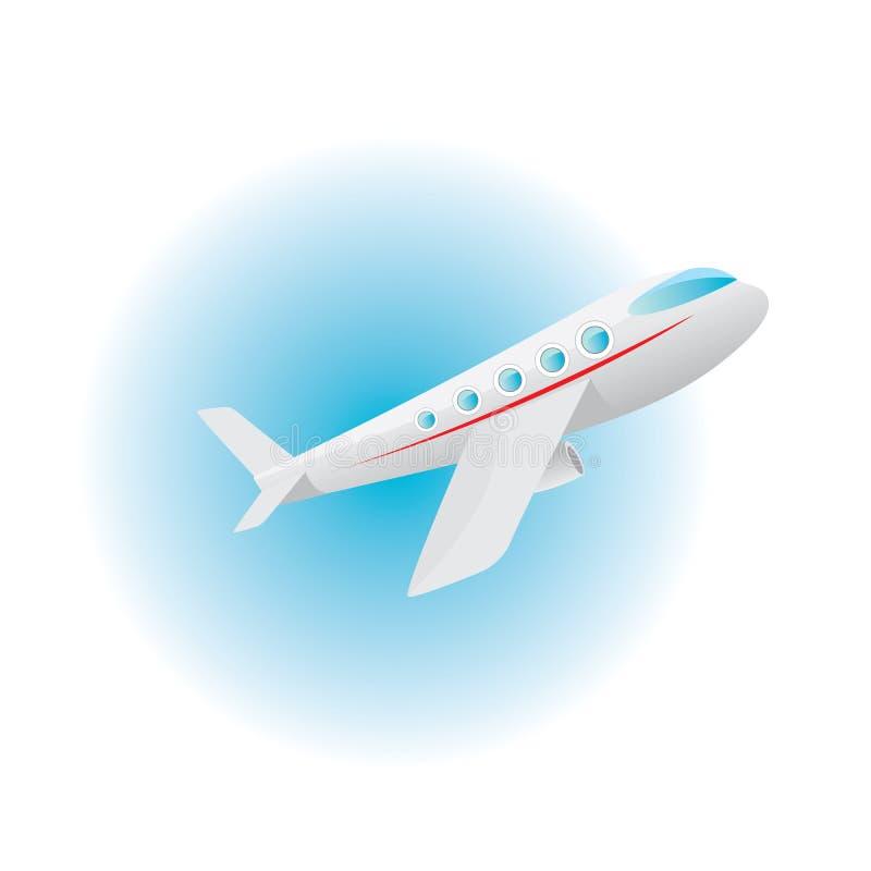 Διανυσματικό εικονίδιο αεροπλάνων. αεροπλάνο κινούμενων σχεδίων στο μπλε ουρανό απεικόνιση αποθεμάτων