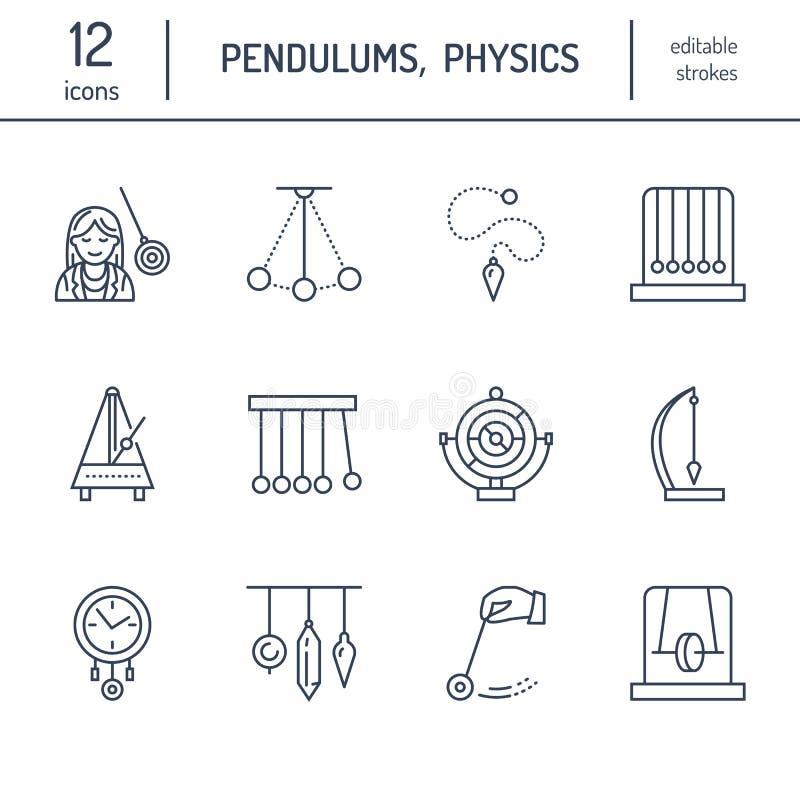 Διανυσματικό εικονίδιο γραμμών των τύπων εκκρεμών Λίκνο Newton, μετρονόμος, επιτραπέζιο εκκρεμές, perpetuum κινητό, γυροσκόπιο Γρ διανυσματική απεικόνιση