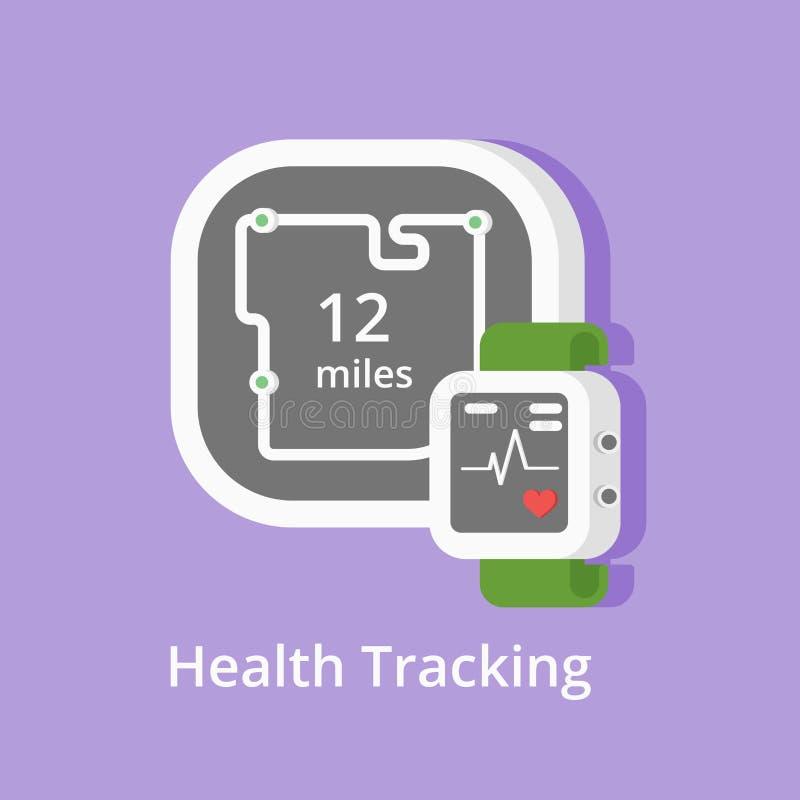 Διανυσματικό εικονίδιο ιχνηλατών ικανότητας Παρουσίαση της συνθήκης και μιλι'ων υγιεινής με το έξυπνο ρολόι βραχιολιών ή καρδιά-π απεικόνιση αποθεμάτων