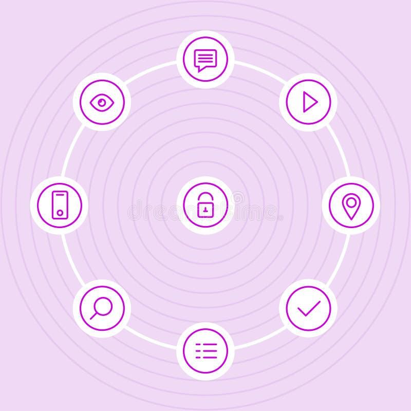 Διανυσματικό εικονίδιο περιλήψεων που τίθεται με την κλειδαριά, μάτι, εικονίδια παιχνιδιού στοκ φωτογραφία με δικαίωμα ελεύθερης χρήσης