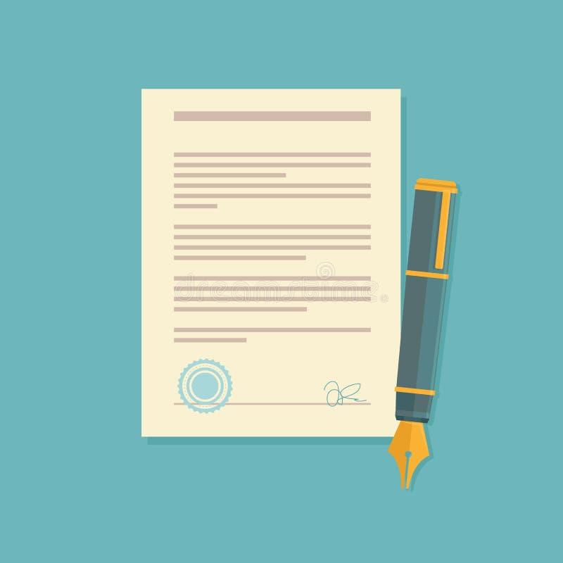 Διανυσματικό εικονίδιο συμφωνίας στο επίπεδο ύφος ελεύθερη απεικόνιση δικαιώματος