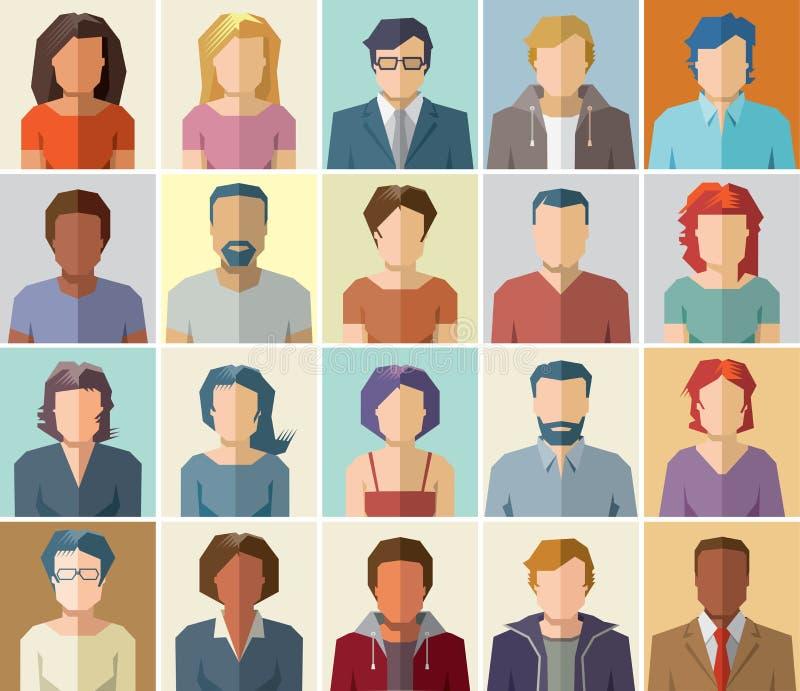 Διανυσματικό εικονίδιο σχεδιαγράμματος ειδώλων καθορισμένο - σύνολο εικονιδίων ανθρώπων διανυσματική απεικόνιση