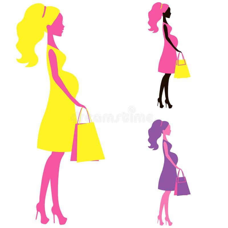 Διανυσματικό εικονίδιο της όμορφης γυναικείας σκιαγραφίας κοιλιών αγορών εγκύων γυναικών, τυποποιημένο σύμβολο moms ελεύθερη απεικόνιση δικαιώματος