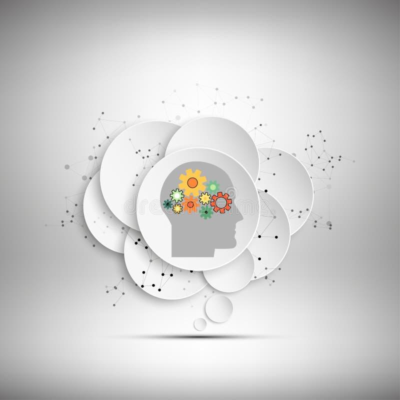 Διανυσματικό εικονίδιο του ανθρώπινου κεφαλιού με τα εργαλεία απεικόνιση αποθεμάτων