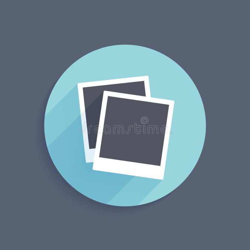 Διανυσματικό εικονίδιο δύο στιγμιαίων πλαισίων φωτογραφιών στο επίπεδο διανυσματική απεικόνιση