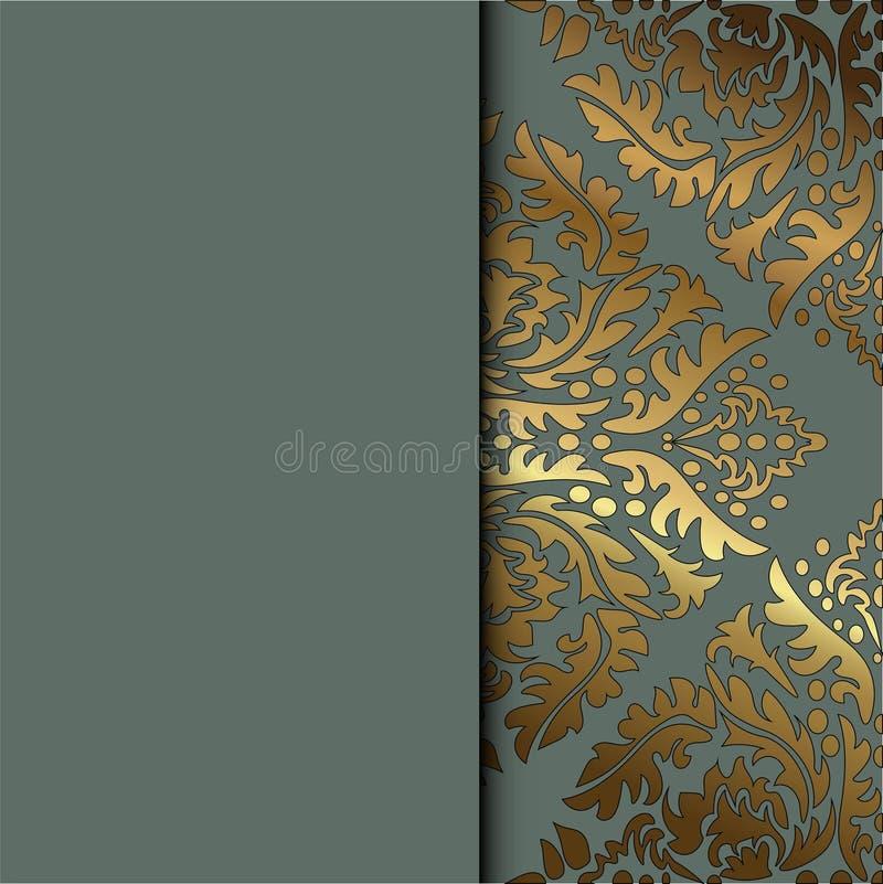 Διανυσματικό εκλεκτής ποιότητας floral διακοσμητικό υπόβαθρο για την κάρτα πρόσκλησης σχεδίου, βιβλιάριο, τυπωμένη ύλη Χρυσός και διανυσματική απεικόνιση