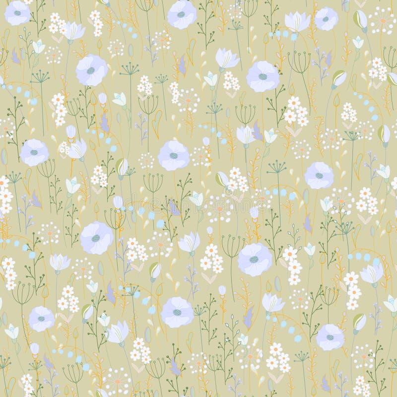 Διανυσματικό εκλεκτής ποιότητας άνευ ραφής floral σχέδιο άγρια περιοχές χορταριών &lambda Βοτανικό ύφος χάραξης απεικόνισης ζωηρό απεικόνιση αποθεμάτων