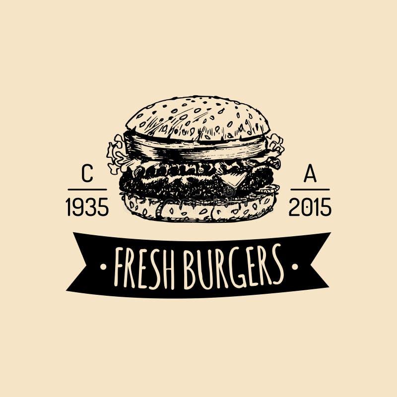 Διανυσματικό εκλεκτής ποιότητας λογότυπο γρήγορου φαγητού Αναδρομική συρμένη χέρι burger ετικέτα Σημάδι σάντουιτς Hipster Εικονίδ διανυσματική απεικόνιση