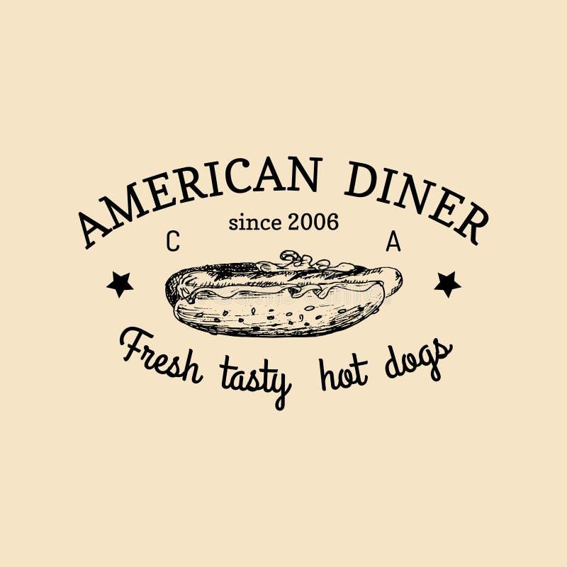 Διανυσματικό εκλεκτής ποιότητας λογότυπο γρήγορου φαγητού Αναδρομική συρμένη χέρι ετικέτα χοτ-ντογκ Εικονίδιο Bistro Έμβλημα εστι ελεύθερη απεικόνιση δικαιώματος