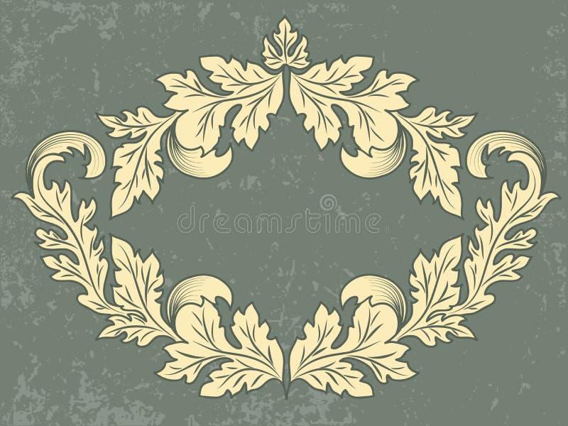 Διανυσματικό εκλεκτής ποιότητας πλαίσιο με το υπόβαθρο grunge Κάρτα γαμήλιων πρόσκλησης και ανακοίνωσης με τα floral στοιχεία απεικόνιση αποθεμάτων