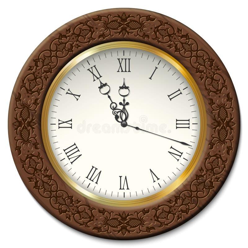 Διανυσματικό εκλεκτής ποιότητας ρολόι τοίχων απεικόνιση αποθεμάτων