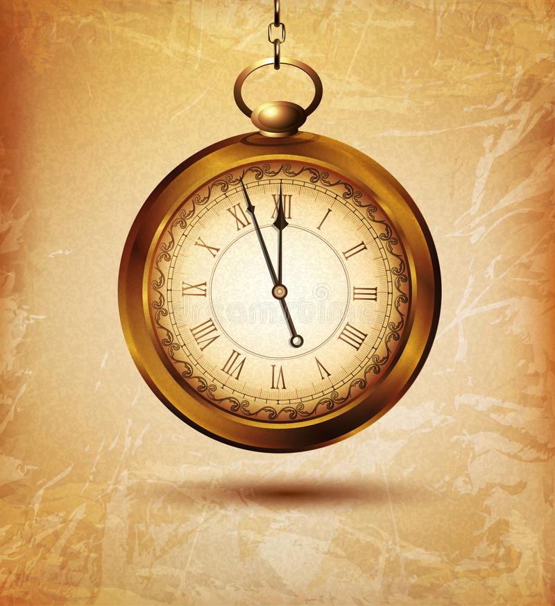 Διανυσματικό εκλεκτής ποιότητας ρολόι τσεπών σε ένα παλαιό υπόβαθρο grunge διανυσματική απεικόνιση