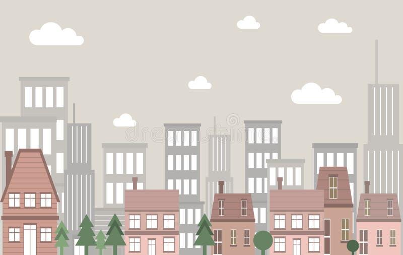 Διανυσματικό εκλεκτής ποιότητας τοπίο οικοδόμησης δημαρχείων με τα ψηλά κτίρια ως υπόβαθρο διανυσματική απεικόνιση