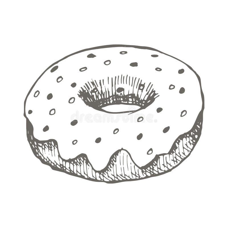 Διανυσματικό εκλεκτής ποιότητας doughnut σχέδιο Συρμένη χέρι μονοχρωματική απεικόνιση γρήγορου φαγητού απεικόνιση αποθεμάτων