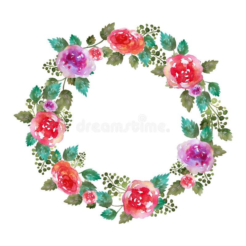 Διανυσματικό εκλεκτής ποιότητας floral γαμήλιο πλαίσιο στεφανιών με τα ροδαλά λουλούδια και το φύλλο χαιρετισμός καλή χρονιά καρτ ελεύθερη απεικόνιση δικαιώματος