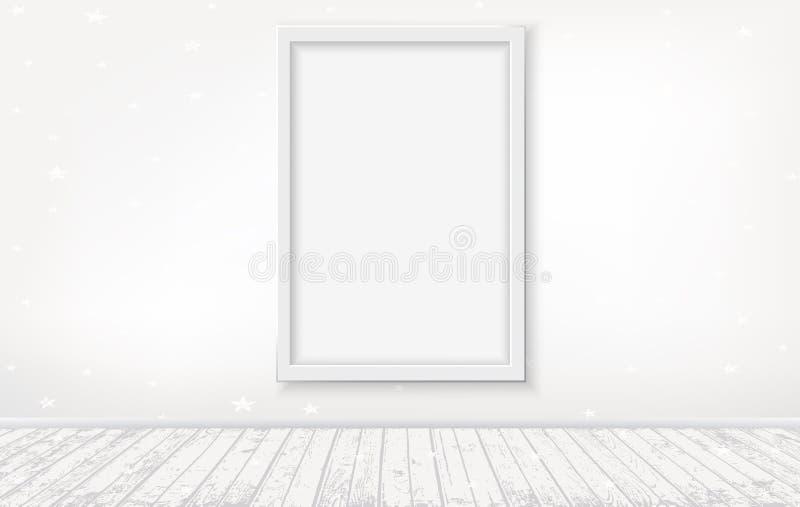 Διανυσματικό ελαφρύ εσωτερικό με το άσπρο ξύλινο πάτωμα πλαισίων και άσπρο υπόβαθρο τοίχων με το σχέδιο αστεριών διανυσματική απεικόνιση