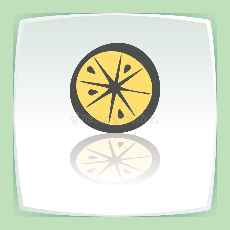 Διανυσματικό λεμόνι περιλήψεων ή πορτοκαλί εικονίδιο φρούτων φετών Σύγχρονα λογότυπο και εικονόγραμμα διανυσματική απεικόνιση