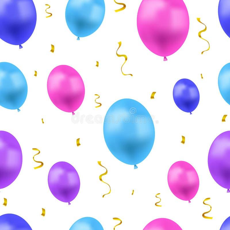 Διανυσματικό εορταστικό υπόβαθρο με τα ζωηρόχρωμα μπαλόνια και το χρυσό κομφετί, το άνευ ραφής σχέδιο, τα μπλε, ρόδινα και πορφυρ διανυσματική απεικόνιση