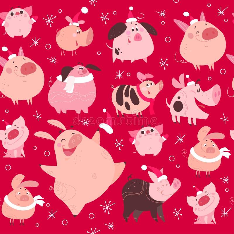 Διανυσματικό επίπεδο άνευ ραφής σχέδιο με τα στοιχεία νιφάδων χιονιού Χριστουγέννων και αστείος χοίρος στο σχέδιο χαρακτήρων καπέ ελεύθερη απεικόνιση δικαιώματος