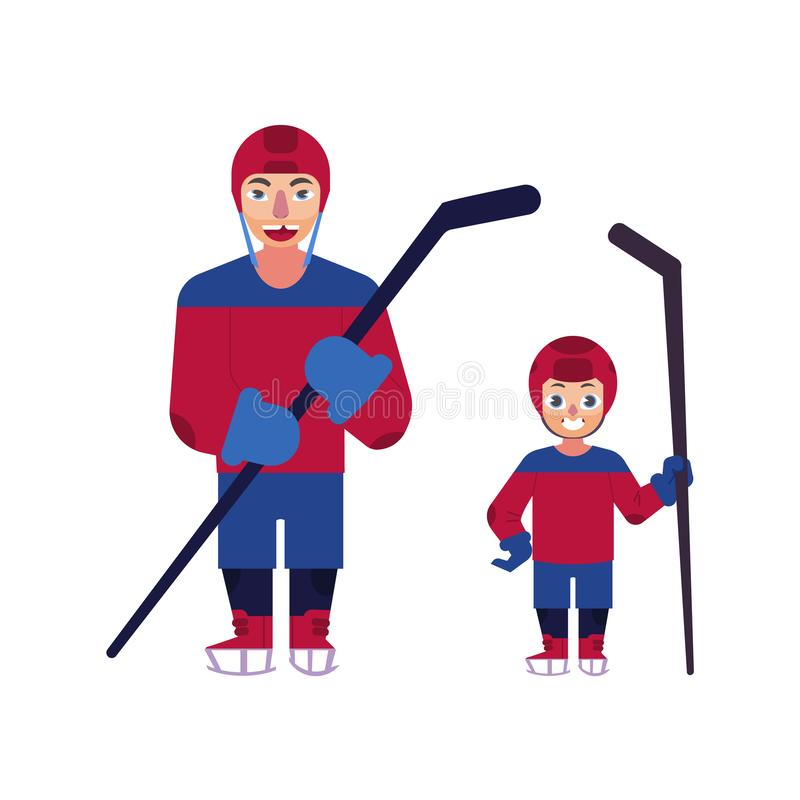 Διανυσματικό επίπεδο άτομο αγοριών παικτών χόκεϋ πάγου που απομονώνεται διανυσματική απεικόνιση