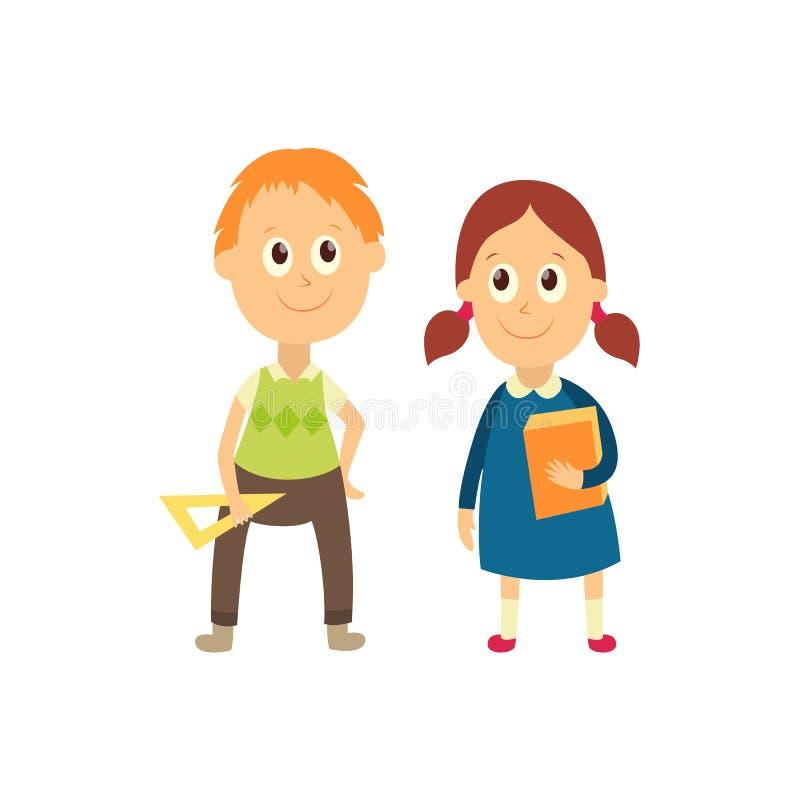 Διανυσματικό επίπεδο αγόρι κινούμενων σχεδίων, μαθητής κοριτσιών που απομονώνεται ελεύθερη απεικόνιση δικαιώματος