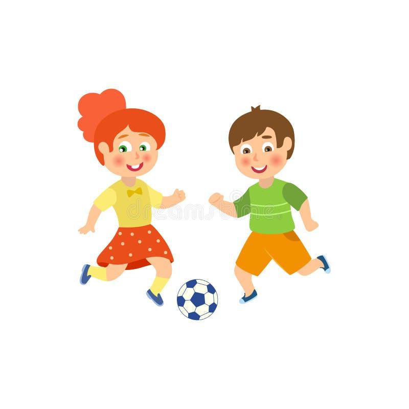Διανυσματικό επίπεδο αγόρι, παίζοντας ποδόσφαιρο χαρακτήρα κοριτσιών διανυσματική απεικόνιση