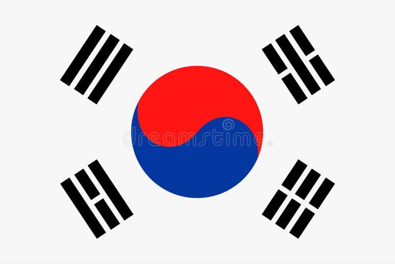 Διανυσματικό επίπεδο εικονίδιο σημαιών της Νότιας Κορέας απεικόνιση αποθεμάτων
