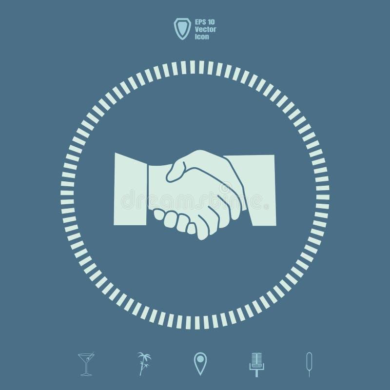 Διανυσματικό επίπεδο εικονίδιο του συμφωνητικού σύμβασης χειραψιών ή επιχειρήσεων διανυσματική απεικόνιση