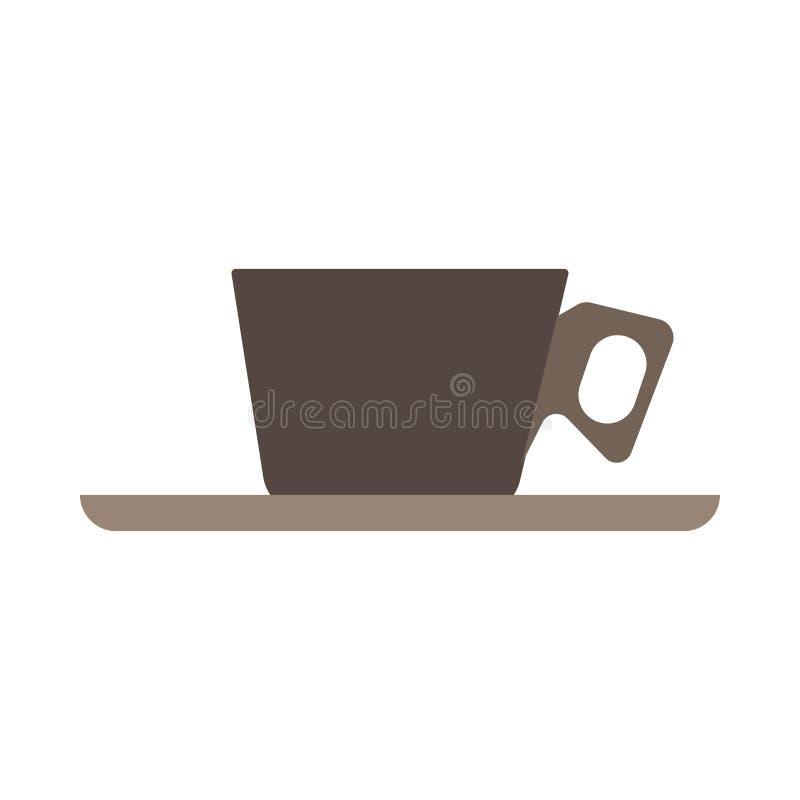 Διανυσματικό επίπεδο σημάδι κινηματογραφήσεων σε πρώτο πλάνο πλάγιας όψης καφέ φλυτζανιών Καυτή κούπα εστιατορίων αρώματος ποτών  απεικόνιση αποθεμάτων