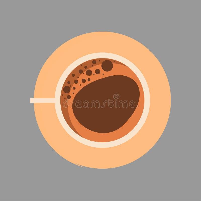 Διανυσματικό επίπεδο σημάδι κινηματογραφήσεων σε πρώτο πλάνο τοπ άποψης καφέ φλυτζανιών Καφετιά ποτών κούπα εστιατορίων αρώματος  διανυσματική απεικόνιση