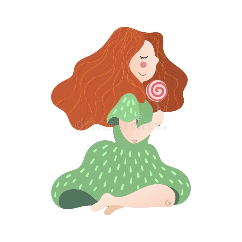 Διανυσματικό επίπεδο συρμένο χέρι κορίτσι με ένα lollipop στο χέρι της ελεύθερη απεικόνιση δικαιώματος
