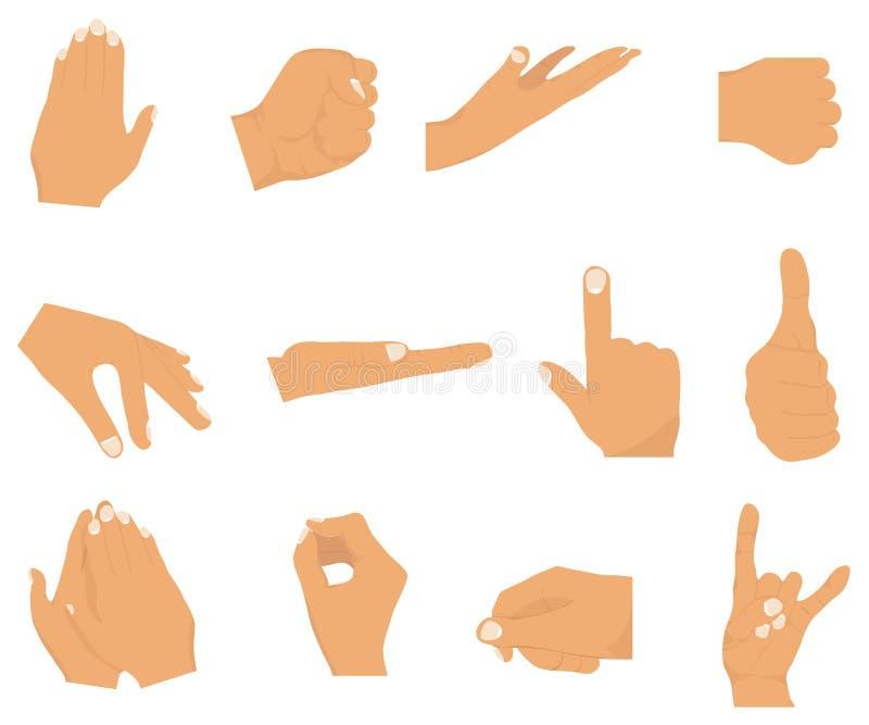 Διανυσματικό επίπεδο σύνολο ύφους διάφορων χειρονομιών χεριών απεικόνιση αποθεμάτων