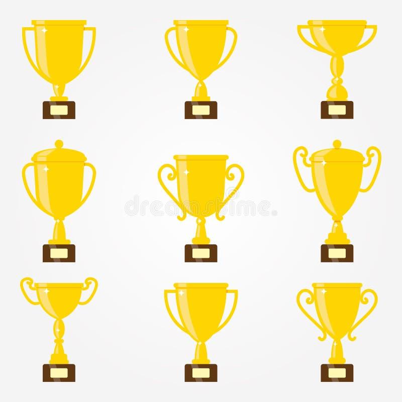 Διανυσματικό επίπεδο χρυσό goblet σύνολο εικονιδίων Βραβείο νικητών ελεύθερη απεικόνιση δικαιώματος
